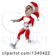 Clipart Of A 3d Young Black Male Christmas Super Hero Santa Walking And Pointing To The Left Royalty Free Illustration by Julos