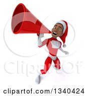 Clipart Of A 3d Young Black Male Christmas Super Hero Santa Announcing Upwards With A Megaphone Royalty Free Illustration