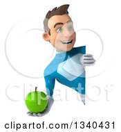 Clipart Of A 3d Young White Male Super Hero In A Light Blue Suit Holding A Green Apple And Looking Around A Sign Royalty Free Illustration