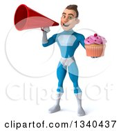 Clipart Of A 3d Young White Male Super Hero In A Light Blue Suit Holding A Pink Frosted Cupcake And Announcing With A Megaphone Royalty Free Illustration