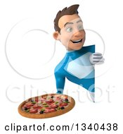 Clipart Of A 3d Young White Male Super Hero In A Light Blue Suit Holding A Pizza And Looking Around A Sign Royalty Free Illustration