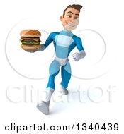 Clipart Of A 3d Young White Male Super Hero In A Light Blue Suit Holding A Double Cheeseburger And Speed Walking Royalty Free Illustration