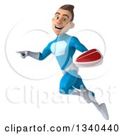 Clipart Of A 3d Young White Male Super Hero In A Light Blue Suit Holding A Beef Steak Flying And Pointing Royalty Free Illustration