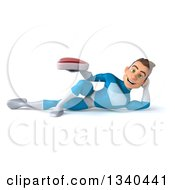 Clipart Of A 3d Young White Male Super Hero In A Light Blue Suit Holding A Beef Steak And Resting On His Side Royalty Free Illustration