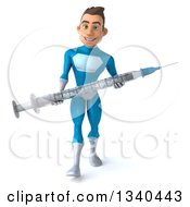Clipart Of A 3d Young White Male Super Hero In A Light Blue Suit Carrying A Giant Vaccine Syringe And Walking Royalty Free Illustration