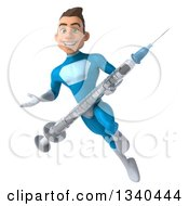 Clipart Of A 3d Young White Male Super Hero In A Light Blue Suit Carrying A Giant Vaccine Syringe Flying And Presenting Royalty Free Illustration