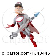 Clipart Of A 3d Young White Male Super Hero Mechanic In Gray And Red Holding A Giant Vaccine Syringe Presenting And Flying Royalty Free Illustration