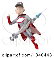 Clipart Of A 3d Young White Male Super Hero Mechanic In Gray And Red Holding Up A Finger A Giant Vaccine Syringe And Flying Royalty Free Illustration