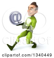Clipart Of A 3d Young White Male Super Hero In A Green Suit Holding An Email Arobase At Symbol And Speed Walking To The Left Royalty Free Illustration