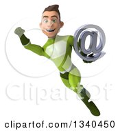 Clipart Of A 3d Young White Male Super Hero In A Green Suit Holding An Email Arobase At Symbol And Flying Royalty Free Illustration