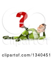 Clipart Of A 3d Young White Male Super Hero In A Green Suit Holding A Question Mark And Resting On His Side Royalty Free Illustration