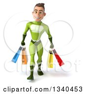 Clipart Of A 3d Young White Male Super Hero In A Green Suit Carrying Shopping Bags Royalty Free Illustration