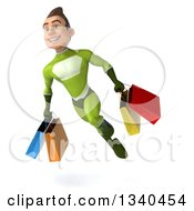 Clipart Of A 3d Young White Male Super Hero In A Green Suit Carrying Shopping Bags And Flying Royalty Free Illustration