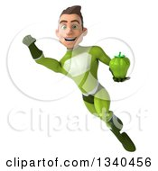Clipart Of A 3d Young White Male Super Hero In A Green Suit Holding A Green Bell Pepper And Flying Royalty Free Illustration