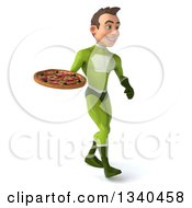Clipart Of A 3d Young White Male Super Hero In A Green Suit Holding A Pizza And Walking To The Right Royalty Free Illustration