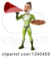 Clipart Of A 3d Young White Male Super Hero In A Green Suit Holding A Pizza And Announcing With A Megaphone Royalty Free Illustration