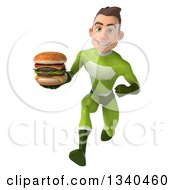 Clipart Of A 3d Young White Male Super Hero In A Green Suit Holding A Double Cheeseburger And Sprinting Royalty Free Illustration