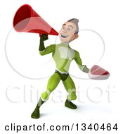 Clipart Of A 3d Young White Male Super Hero In A Green Suit Holding A Beef Steak And Announcing Upwards With A Megaphone Royalty Free Illustration