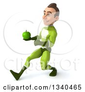 Clipart Of A 3d Young White Male Super Hero In A Green Suit Holding A Green Apple And Speed Walking To The Left Royalty Free Illustration