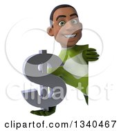Clipart Of A 3d Young Black Male Super Hero In A Green Suit Holding A Dollar Currency Symbol Around A Sign Royalty Free Illustration