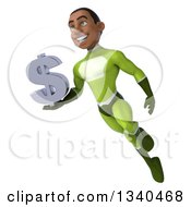 Clipart Of A 3d Young Black Male Super Hero In A Green Suit Holding A Dollar Currency Symbol And Flying Royalty Free Illustration