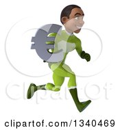 Clipart Of A 3d Young Black Male Super Hero In A Green Suit Holding A Euro Currency Symbol And Sprinting To The Right Royalty Free Illustration