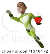 Clipart Of A 3d Young Black Male Super Hero In A Green Suit Holding A Strawberry And Flying 2 Royalty Free Illustration