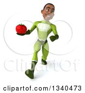 Clipart Of A 3d Young Black Male Super Hero In A Green Suit Holding A Tomato And Speed Walking Royalty Free Illustration