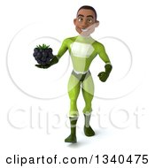Clipart Of A 3d Young Black Male Super Hero In A Green Suit Holding A Blackberry And Walking Royalty Free Illustration
