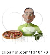 Clipart Of A 3d Young Black Male Super Hero In A Green Suit Holding A Pizza Over A Sign Royalty Free Illustration