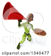 Clipart Of A 3d Young Black Male Super Hero In A Green Suit Holding A Pizza And Announcing Upwards With A Megaphone Royalty Free Illustration