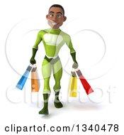 Clipart Of A 3d Young Black Male Super Hero In A Green Suit Carrying Shopping Bags Royalty Free Illustration