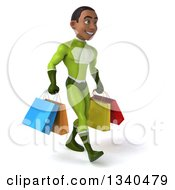 Clipart Of A 3d Young Black Male Super Hero In A Green Suit Carrying Shopping Bags And Walking Slightly Right Royalty Free Illustration