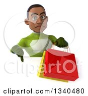 Clipart Of A 3d Young Black Male Super Hero In A Green Suit Holding Shopping Bags And Giving A Thumb Down Over A Sign Royalty Free Illustration