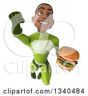 Clipart Of A 3d Young Black Male Super Hero In A Green Suit Holding A Double Cheeseburger And Flying Royalty Free Illustration