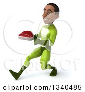 Clipart Of A 3d Young Black Male Super Hero In A Green Suit Holding A Beef Steak And Speed Walking To The Left Royalty Free Illustration