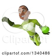 Clipart Of A 3d Young Black Male Super Hero In A Green Suit Holding A Green Apple And Flying Royalty Free Illustration