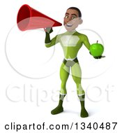 Clipart Of A 3d Young Black Male Super Hero In A Green Suit Holding A Green Apple And Announcing With A Megaphone Royalty Free Illustration