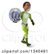 Clipart Of A 3d Young Black Male Super Hero In A Green Suit Holding An Email Arobase At Symbol And Walking To The Right Royalty Free Illustration