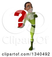 Clipart Of A 3d Full Length Young Black Male Super Hero In A Green Suit Holding A Question Mark And Looking Around A Sign Royalty Free Illustration