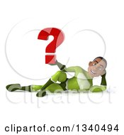 Clipart Of A 3d Young Black Male Super Hero In A Green Suit Holding A Question Mark And Resting On His Side Royalty Free Illustration