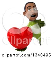 Clipart Of A 3d Young Black Male Super Hero In A Green Suit Holding A Love Heart Around A Sign Royalty Free Illustration