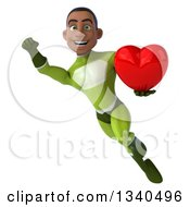 Clipart Of A 3d Young Black Male Super Hero In A Green Suit Holding A Love Heart And Flying Royalty Free Illustration
