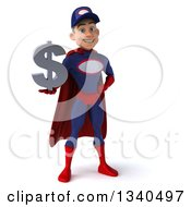 Clipart Of A 3d Young White Male Super Hero Mechanic In Red And Dark Blue Holding A Dollar Currency Symbol Royalty Free Illustration by Julos