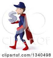 Clipart Of A 3d Young White Male Super Hero Mechanic In Red And Dark Blue Holding A Dollar Currency Symbol And Walking To The Left Royalty Free Illustration