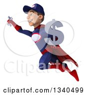 Clipart Of A 3d Young White Male Super Hero Mechanic In Red And Dark Blue Holding A Dollar Currency Symbol And Wrench And Flying Royalty Free Illustration