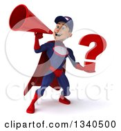 Clipart Of A 3d Young White Male Super Hero Mechanic In Red And Dark Blue Holding A Question Mark And Announcing With A Megaphone Royalty Free Illustration
