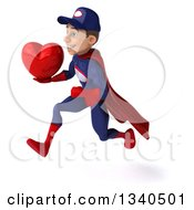 Clipart Of A 3d Young White Male Super Hero Mechanic In Red And Dark Blue Holding A Red Love Heart And Sprinting To The Left Royalty Free Illustration