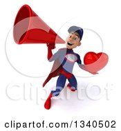 Clipart Of A 3d Young White Male Super Hero Mechanic In Red And Dark Blue Holding A Red Love Heart And Announcing Upwards With A Megaphone Royalty Free Illustration