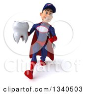 Clipart Of A 3d Young White Male Super Hero Mechanic In Red And Dark Blue Walking With A Tooth Royalty Free Illustration